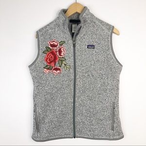 Patagonia Gray Better Sweater Vest Rose Embroidery